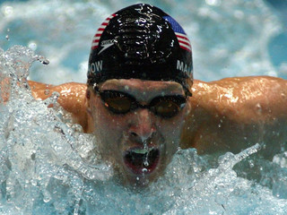 MALCHOW OF THE UNITED STATES SWIMS IN MEN'S 200 METRES BUTTERFLY ATSWIMMING WORLD CUP IN BERLIN.