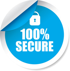 100% secure blue Label, Sticker, Tag, Sign And Icon Banner Business Concept, Design Modern.