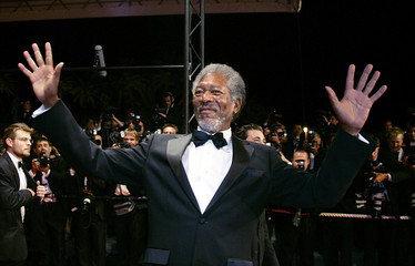 Actor Morgan Freeman poses during red carpet arrivals for director [Robert Rodriguez and Frank Mille..