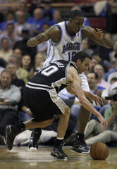 San Antonio Spurs forward Ginobili of Argentina is defended by Orlando Magic center Howard during second-half NBA basketball action in Orlando