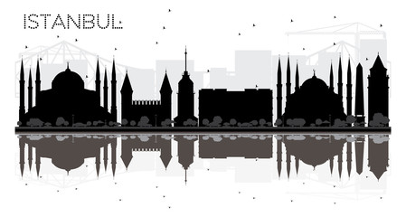 Istanbul City skyline black and white silhouette with reflections.