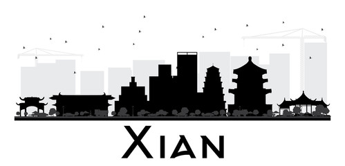 Xian City skyline black and white silhouette.