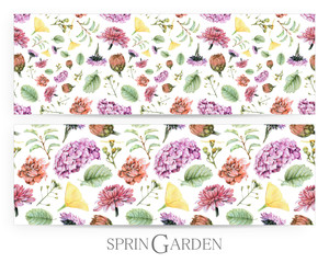 Set of seamless patterns with spring flowers and plants drawn by hand with crayons. Painted by hand with colored pencils illustration isolated on white background. Romantic vintage style