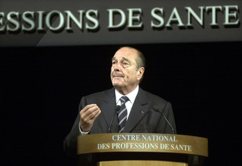 FRENCH PRESIDENT JACQUES CHIRAC AT HEALTH CONGRESS IN PARIS.
