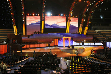 The lighting on the stage simulates a sunset over the mountains at the Democratic National Convention Pepsi Center site in Denver