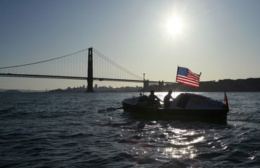 British rowers Chris Martin and Mick Dawson row toward San Francisco aboard their boat Bojangles