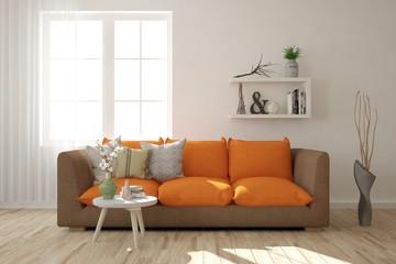 White modern room with orange sofa. Scandinavian interior design. 3D illustration