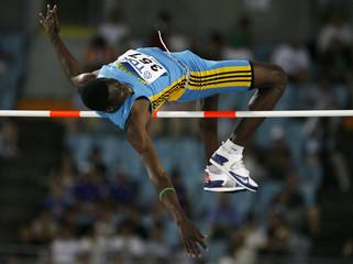 Bahamas' Thomas competes in the men's high jump finals at the 11th IAAF World Athletics Championship in Osaka