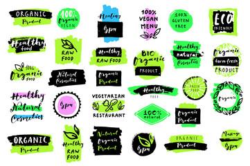 Organic food, spa, cosmetics labels set
