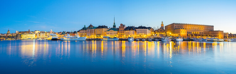 Panorama view of Gamla Stan skyline in Stockholm city, Sweden