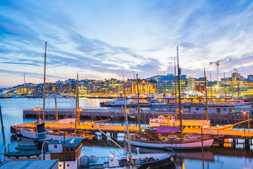 Oslo city, Oslo port with boats and yachts at twilight in Norway
