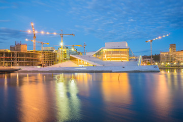 The Oslo Opera House in Oslo city at night in Norway