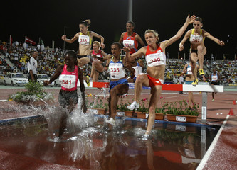 Kenya's Nyangau competes during the women's 3000m steeplechase event at the Doha Super Grand Prix