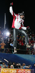 Austria's Morgenstern jumps in air after winning long hill ski jumping individual competition at Torino 2006 Winter Olympic Games