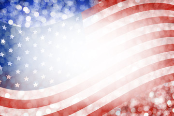 Abstract background design of american flag and bokeh for 4 july independence day and other celebration
