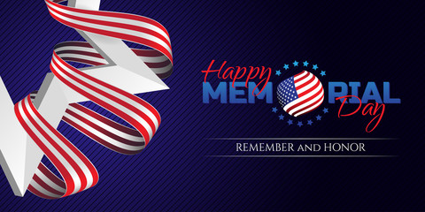 Happy Memorial Day greeting card with national flag colors ribbon and white star on dark background. Remember and honor. Can be used for design your website or print publications and other.