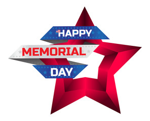Happy Memorial Day greeting card with national flag colors and red star isolated on white background. Remember and honor. Can be used for design your website or print publications and other.