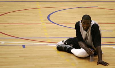 Philadelphia 76ers Webber stretches at end of training session at Sant Jordi Stadium in Barcelona