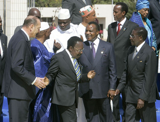 Leaders take their position for the family photo at the 23rd French-African summit in Bamako