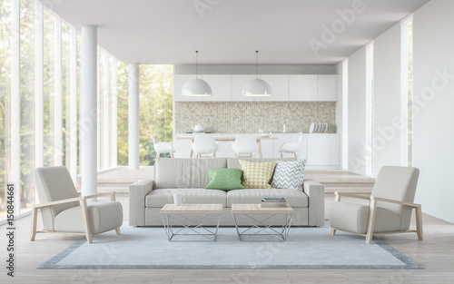 Modern White Livingdining Room And Kitchen 3D Rendering ImageThere Are Living