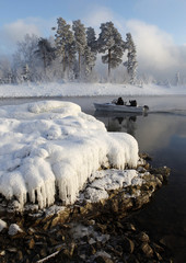 A boat, which serves as a river taxi, sails along the Yenisei River, some 52 km south of the Siberian city of Krasnoyarsk