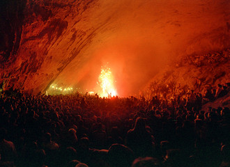 """THOUSANDS ATTEND """"AQUELARRE"""" INSIDE CAVE IN NORTHERN SPAIN."""