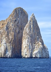 Kicker Rock (Leon Dormido), a striking volcanic rock formation off San Cristobal in the Galapagos Islands, Ecuador