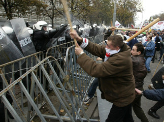 DEMONSTRATORS FIGHT WITH POLICE IN WARSAW.