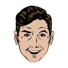 face man smiling expression pop art vector illustration