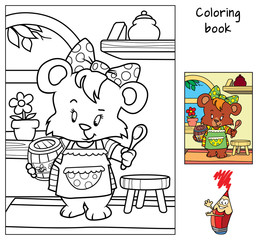Little bear girl in apron with a barrel of honey and a spoon. Coloring book. Cartoon vector illustration