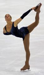 NICOLE SKODA PERFORMS DURING THE WOMEN'S FREE SKATING PROGRAM AT WORLD FIGURE SKATING CHAMPIONSHIPS.