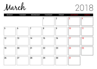 March 2018. Printable calendar planner design template. Week starts on Monday. Stationery design
