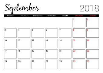 September 2018. Printable calendar planner design template. Week starts on Monday. Stationery design