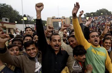 People shout patriotic slogans at Wagah border