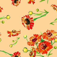 Watercolor seamless pattern of summer flowers.