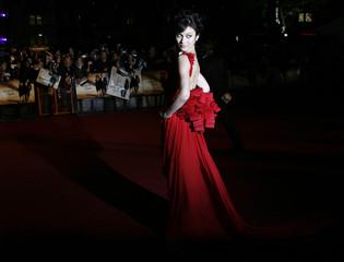 "Ukrainian actress Olga Kurylenko arrives for the world premiere of the latest James Bond movie ""Quantum of Solace"" in London"