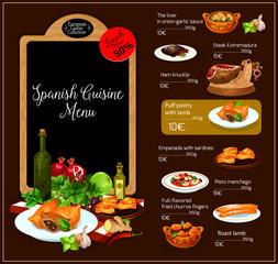 Vector menu of Spanish cuisine restaurant