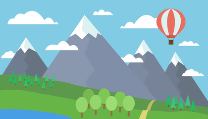 Cartoon colorful vector illustration of a mountain landscape with a hill, forest and lake on a grassy meadow under a blue sky with clouds and a red hot air balloon
