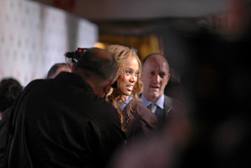 "Model Banks is interviewed at the premiere of the film musical ""The Producers"" in Los Angeles"
