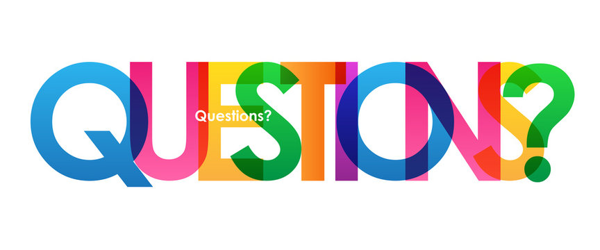 QUESTIONS? Colourful Vector Letters Icon