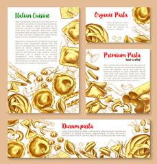 Vector templates set for pasta of Italian cuisine