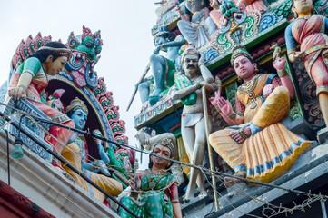 Roof of Sri Veeramakaliamman Temple in Little India, one of the oldest temple of Singapore