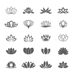 Abstract vector lotus flower symbol icon set