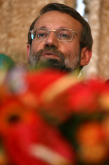 Iran's chief nuclear negotiator Larijani speaks during a news conference in Madrid
