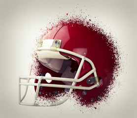 Red American football helmet exploded