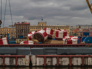 Ship float from anchor the background of St. Petersburg