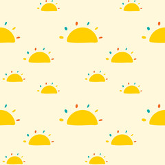 Seamless pattern with suns