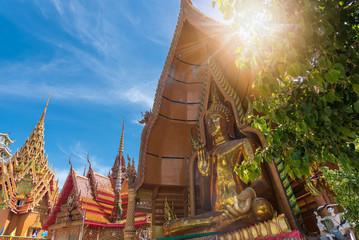 Gold buddha big statue in Kanchanaburi in famous temple(Wat Tham Sua) located in Kanchanaburi Province/ Asia, Thailand