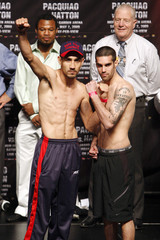 Humberto Soto of Mexico and Benoit Gaudet of Canada pose following a weigh-in at the MGM Grand Garden Arena in Las Vegas
