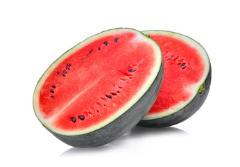 half of fresh watermelon isolated on white background.